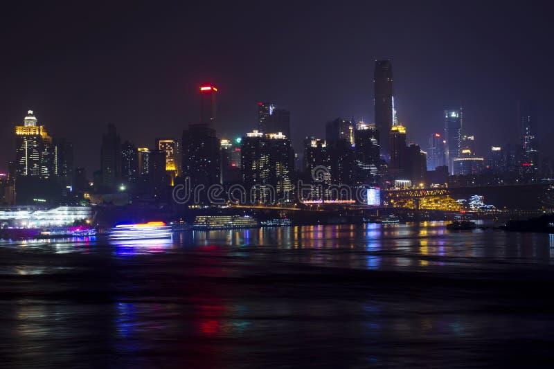 Chongqing City la nuit photos libres de droits