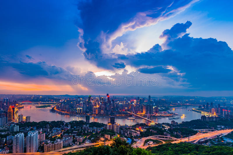 Chongqing City. 31st July 2015, Before the storm coming, the cloud bacame a special style at Chongqing City in the sky stock image