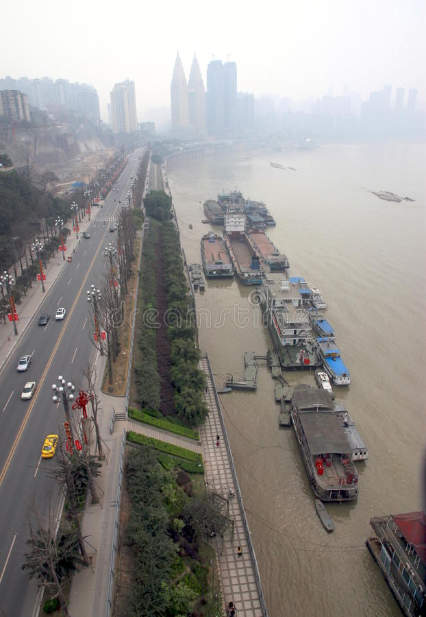 Download Chongqing Cityscape editorial stock image. Image of boats - 25146964