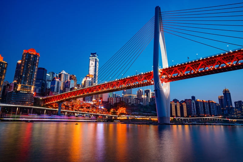Chongqing DongShuiMen Bridge at Night. China royalty free stock photo