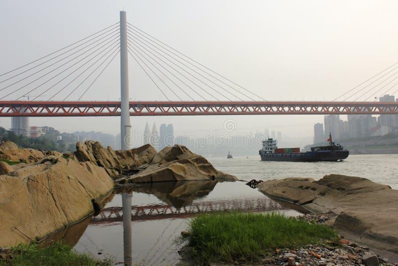 Chongqing DongShuiMen Yangtze River Bridge stock afbeeldingen
