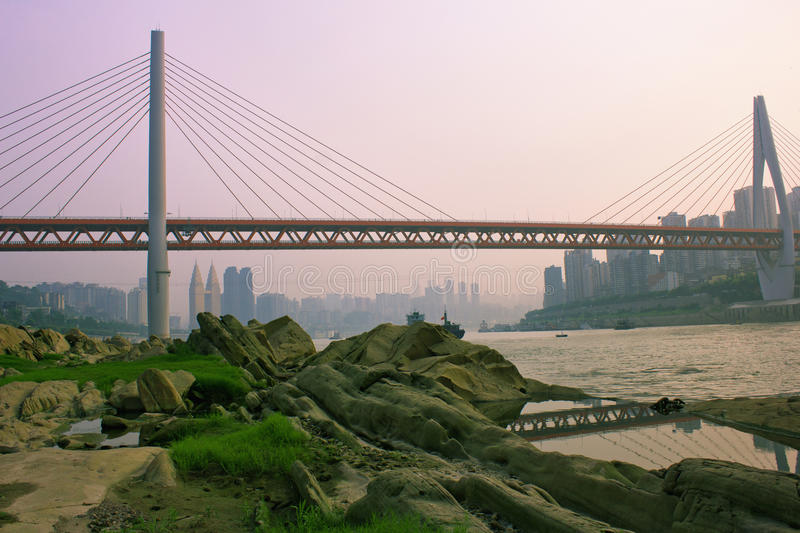Chongqing DongShuiMen Yangtze River Bridge. Will be divided into two layers, the upper set the sidewalk and two-way 4 lane, two-way rail line for the lower stock image