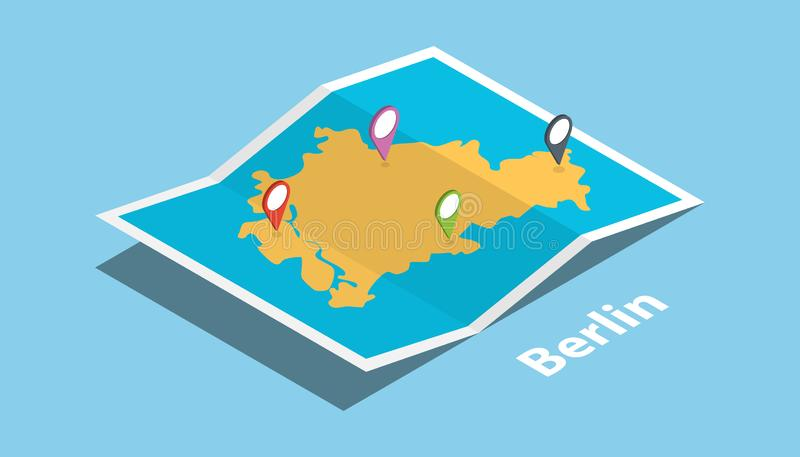 Chongqing explora o lugar dos mapas com mapa dobrado e fixa o destino do fabricante do lugar no estilo isométrico ilustração do vetor