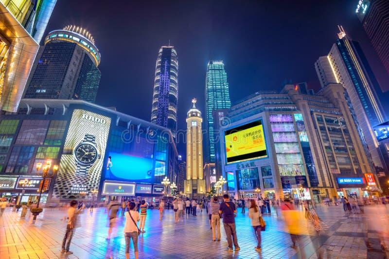 Chongqing in Jiefangbei stock afbeelding