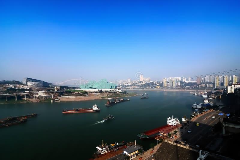 Chongqing port. A new chongqing port under the blue sky stock photo