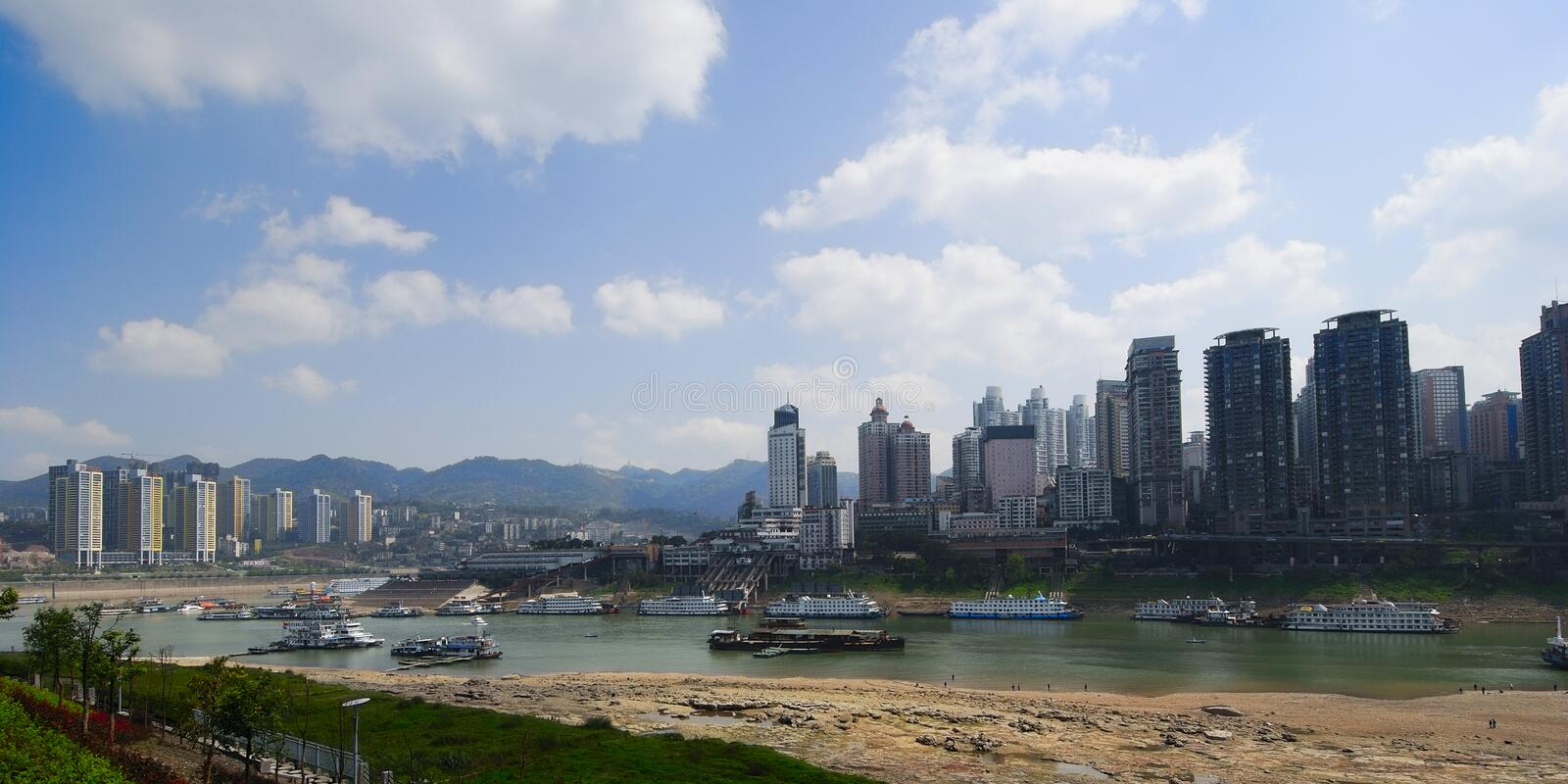 Chongqing port 4. A new chongqing port under the blue sky stock images
