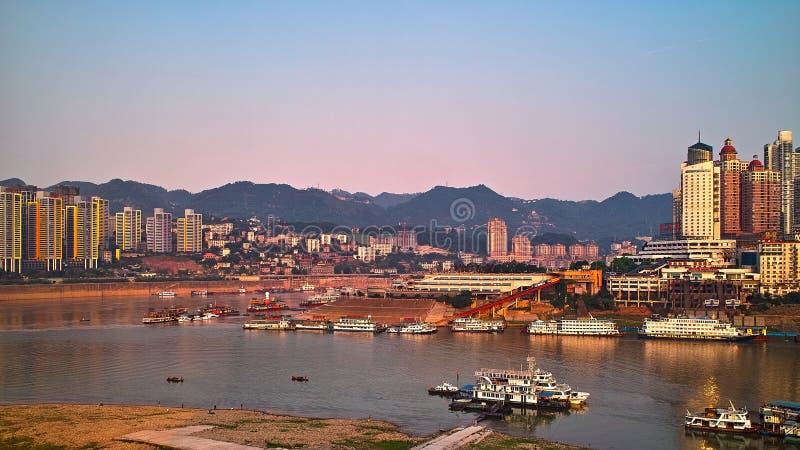 Chongqing port 5. A new chongqing port under the blue sky stock photography