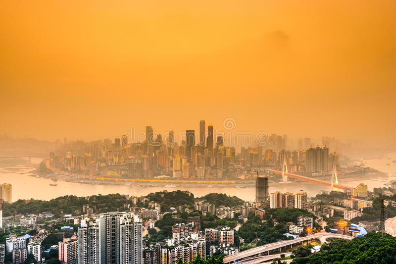 Chongqing Skyline. Chongqing, China cityscape at dusk over the Yangtze River royalty free stock images