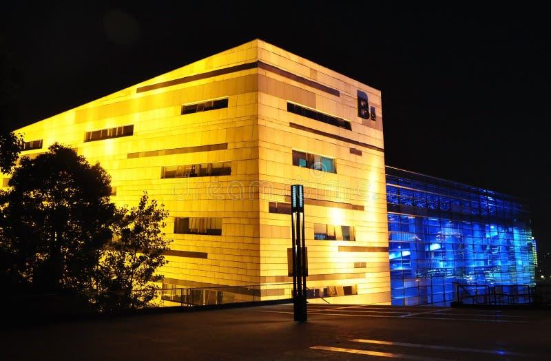 Chongqing vetenskap och sikt för teknologimuseumnatt fotografering för bildbyråer