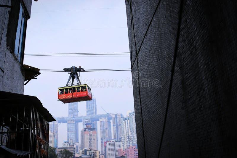 Chongqing Yangtze River Cableway dans les b?timents r?sidentiels photographie stock