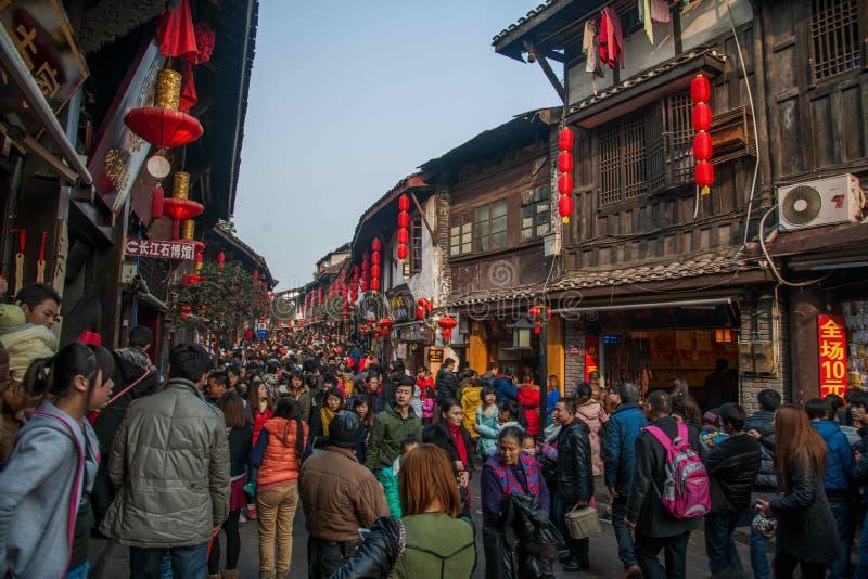 Chongqings beroemde stad 'Ciqikou royalty-vrije stock foto's