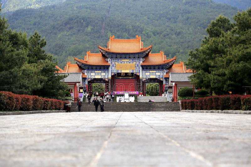 Chongshen temple and Three Pagodas in Dali. Yunnan province. China. stock photos