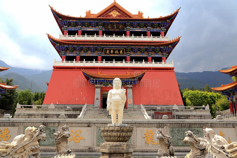 Chongshentempel en Drie Pagoden in Dali Oude stad China stock afbeelding
