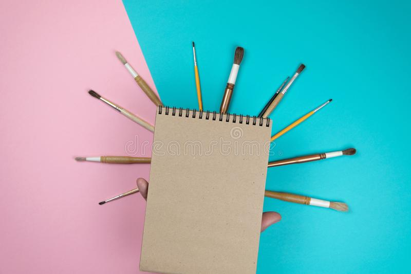 Chool notebook and various stationery. Back to school concept. stock photos