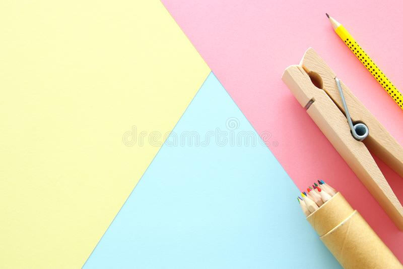 chool or office supplies, back to school over pastel background template. royalty free stock images