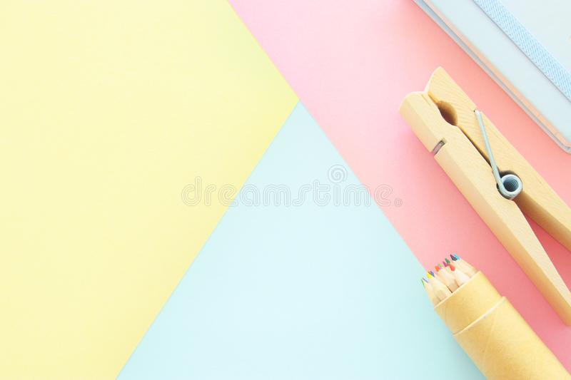 chool or office supplies, back to school over pastel background template. royalty free stock photos