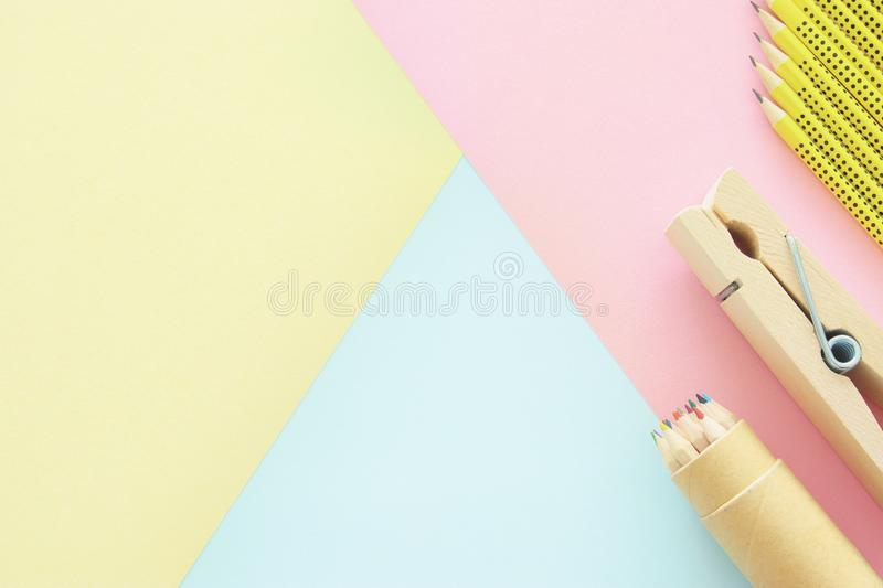 chool or office supplies, back to school over pastel background template. royalty free stock photo