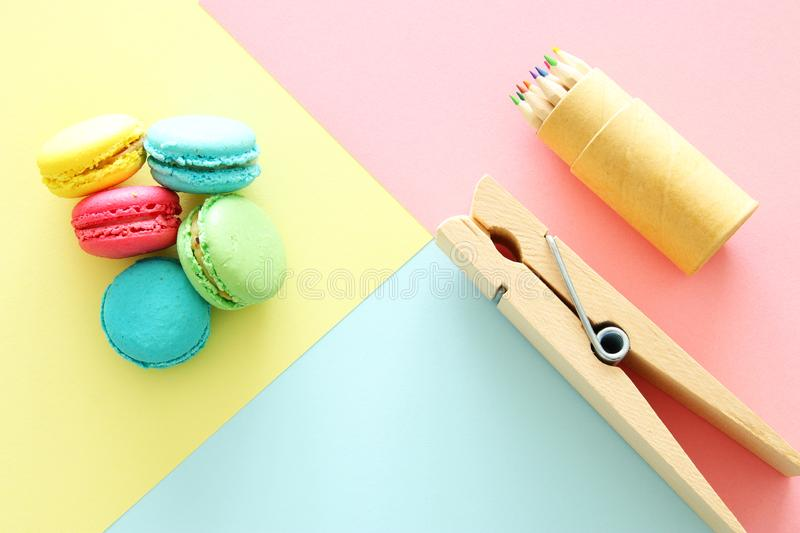 chool or office supplies, back to school over pastel background template.. royalty free stock images
