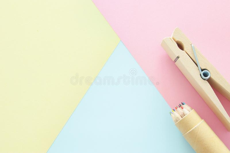 chool or office supplies, back to school over pastel background template. stock photos