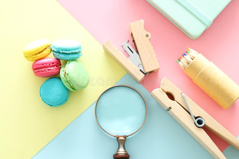 chool or office supplies, back to school over pastel background template. stock photography