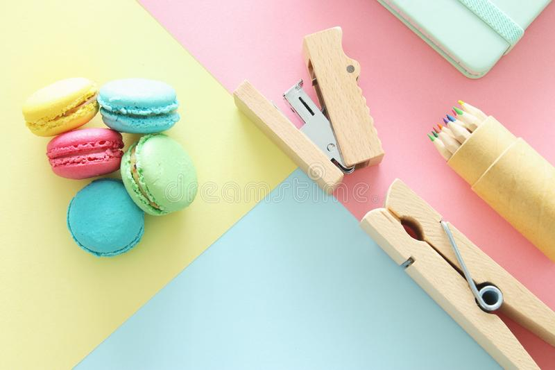 chool or office supplies, back to school over pastel background template.. royalty free stock photos