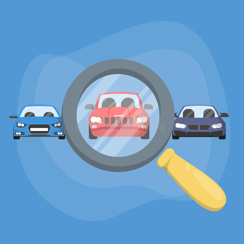 Choose car using magnifying glass. Auto selection. For purchase or rent. Search for a good vehicle. Vector illustration in cartoon style stock illustration
