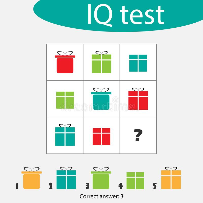 Choose correct answer, IQ test with christmas gift boxes for children, xmas fun education game for kids, preschool. Worksheet activity, task for the development vector illustration