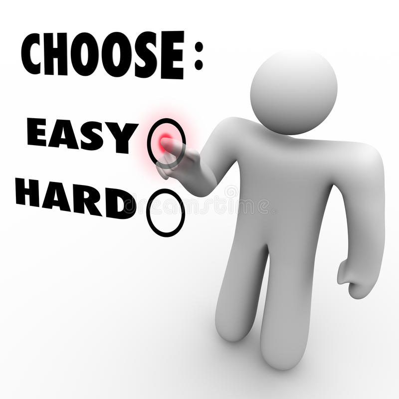 Choose Easy Or Hard - Difficulty Levels. A man presses a button beside the word Easy when asked to choose a difficulty level stock illustration