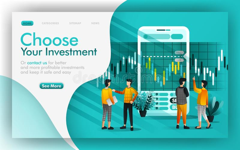 Choose good investment and saving Vector Illustration concept, people discuss each other to make investment choices. Easy to use f. Or website, banner, page stock illustration