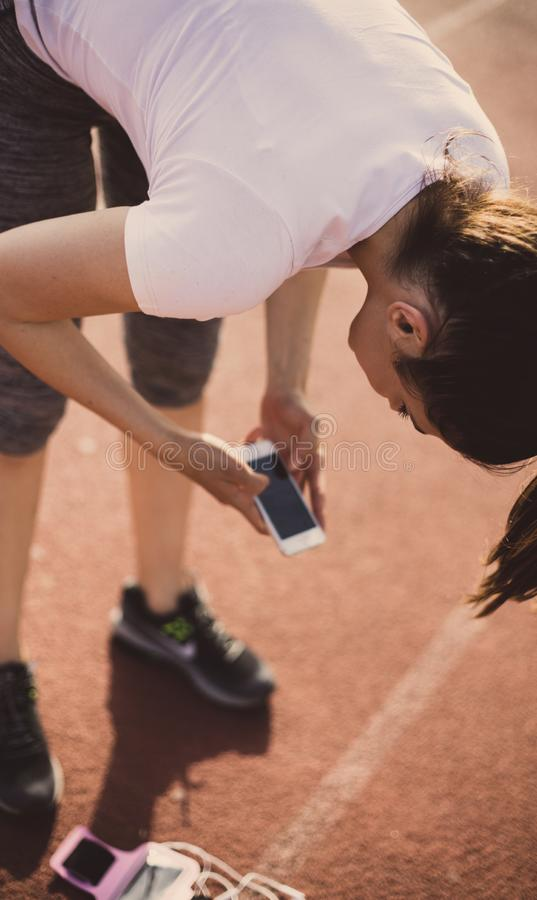 Choose good music for your exercises. royalty free stock photography