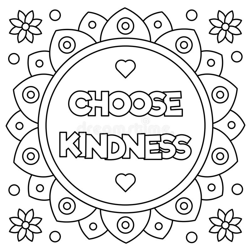 Choose Kindness Coloring Page Vector Illustration Stock Vector