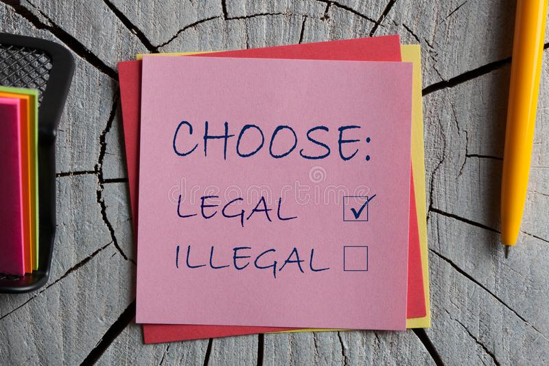 Choose Legal and illegal royalty free stock photos