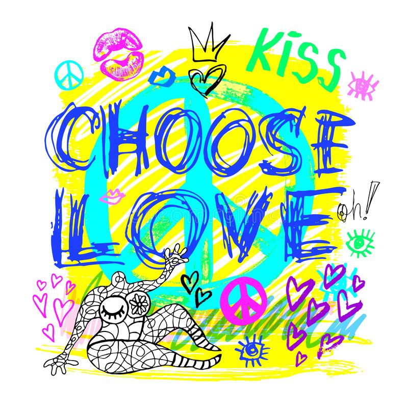 Choose love peace sign girls trendy neon colors, kiss, hearts, lips, slogan lettering. Color pencil, marker, ink vector illustration