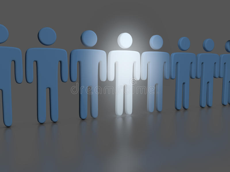 Choose one bright Person in people line stock illustration