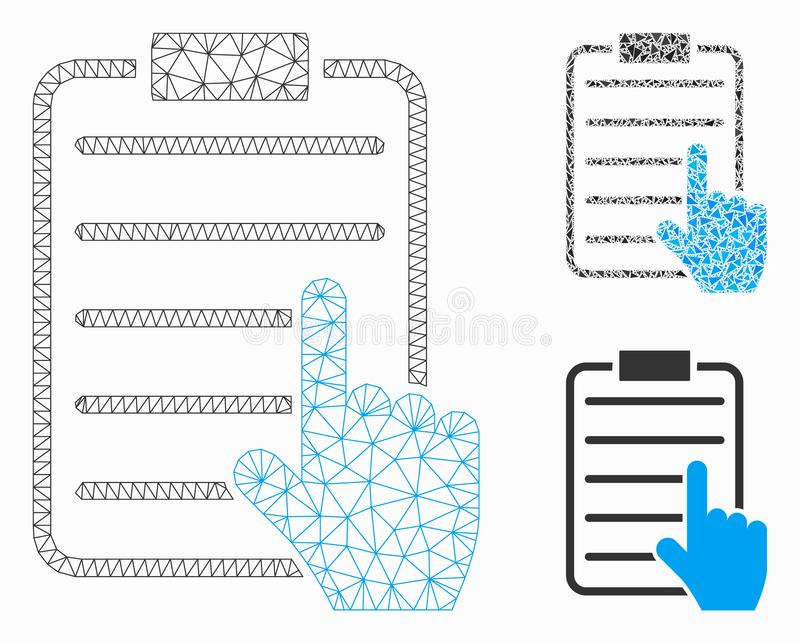 Choose Page Items Vector Mesh Carcass Model and Triangle Mosaic Icon. Mesh choose page items model with triangle mosaic icon. Wire carcass triangular mesh of stock illustration