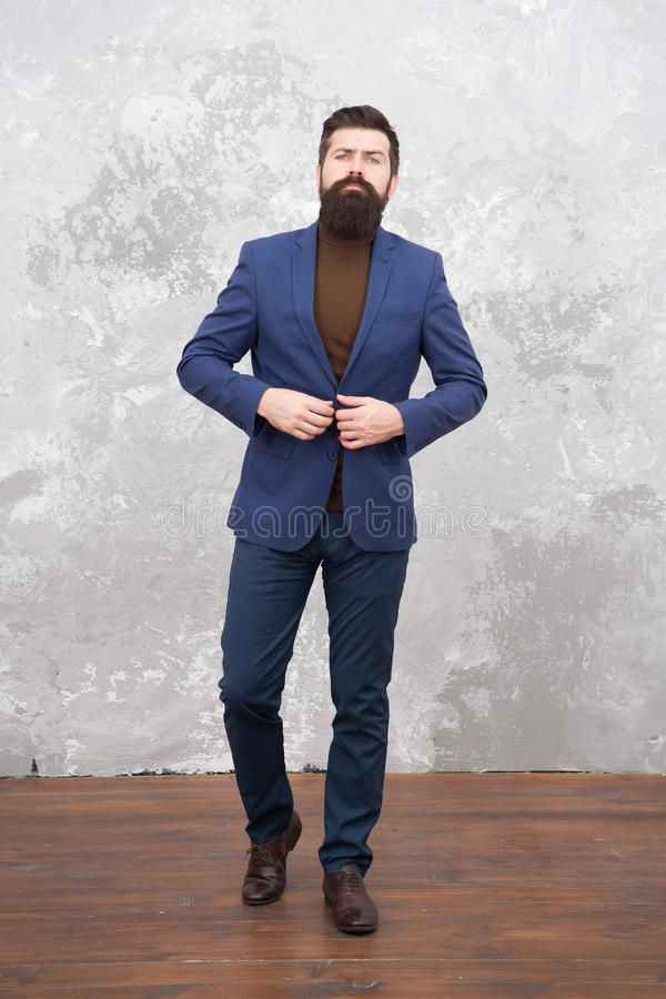 Choose perfect Outfit. Bearded man in formal suit. Business success. Man with beard. Male fashion look. Bearded hipster royalty free stock photo