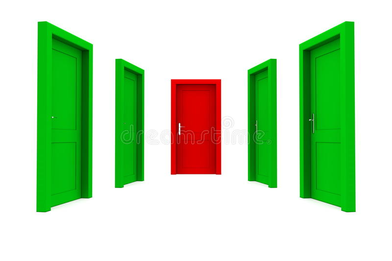 Download Choose The Right Door - Green And Red Stock Illustration - Illustration of hope, frame: 13145550