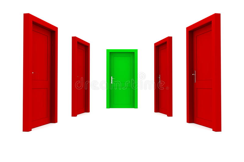 Download Choose The Right Door - Red And Green Royalty Free Stock Photography - Image: 12926247