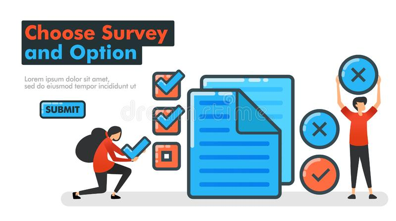 Choose Survey and Option line vector illustration. Make choices on surveys and examinations by checking or crossing documents. royalty free illustration