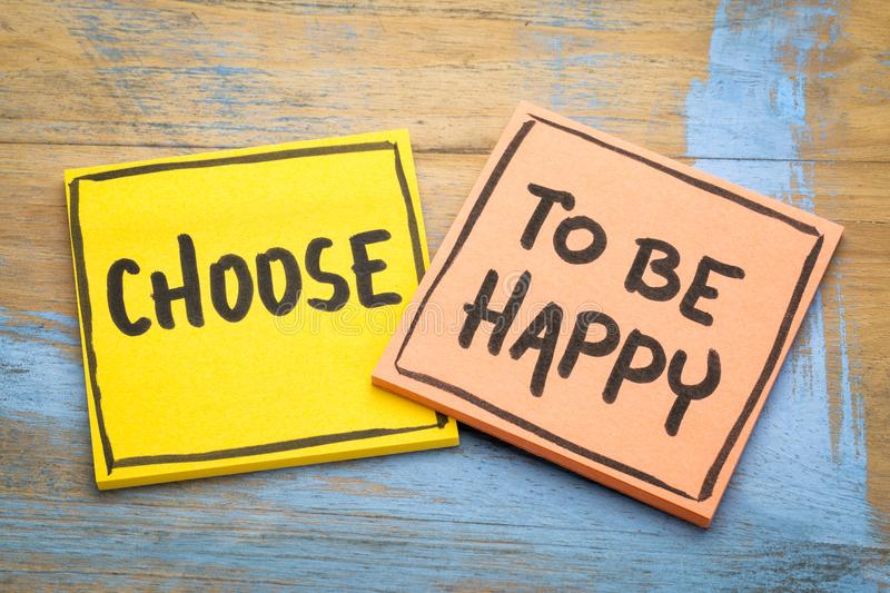Choose to be happy advice royalty free stock images