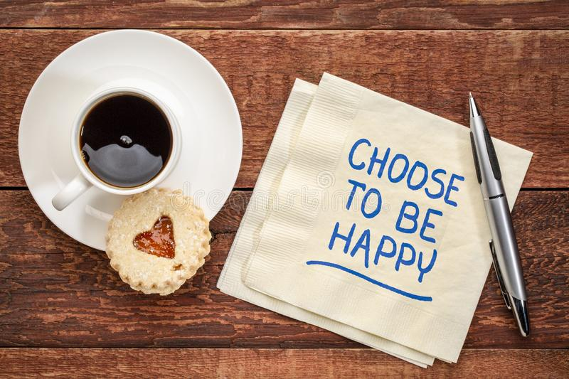 Choose to be happy on a napkin royalty free stock photo