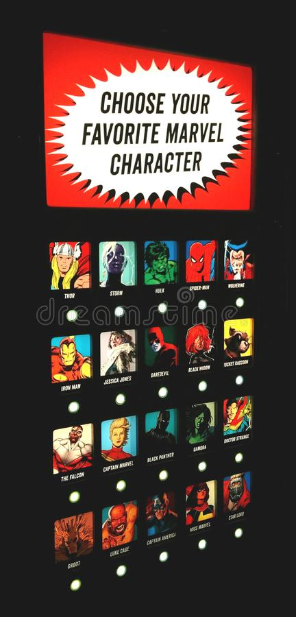 `Choose Your Favorite Marvel Character` panel in Marvel exhibit at MoPOP in Seattle stock images