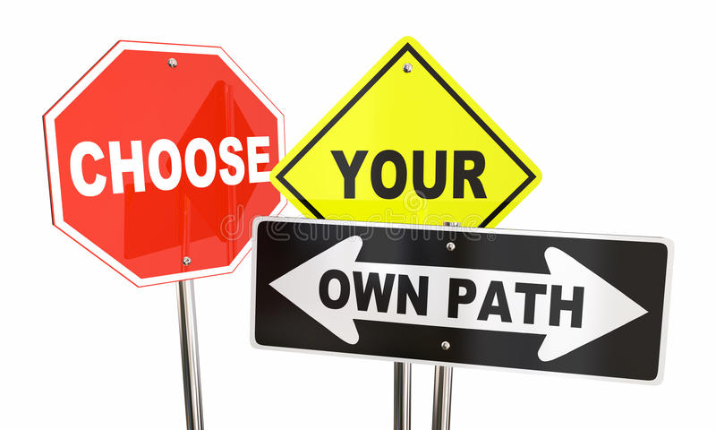 Choose Your Own Path Decide Which Way Signs. 3d Illustration stock illustration