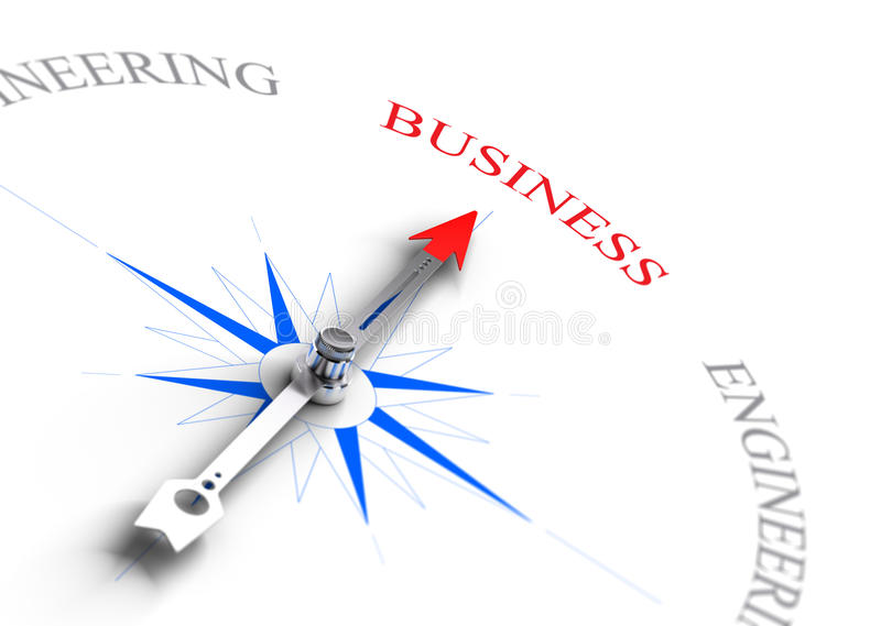 Choosing a business career, Professional guidance. Arrow of a compass pointing the word business. Concept image suitable for professional guidance or school royalty free illustration
