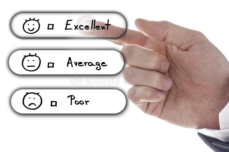 Choosing excellent on customer service evaluation form stock photos