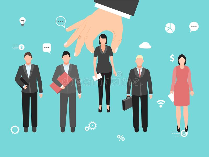 Choosing the ideal candidate vector illustration. Big hand is choosing the best employee among other candidates. Group royalty free illustration
