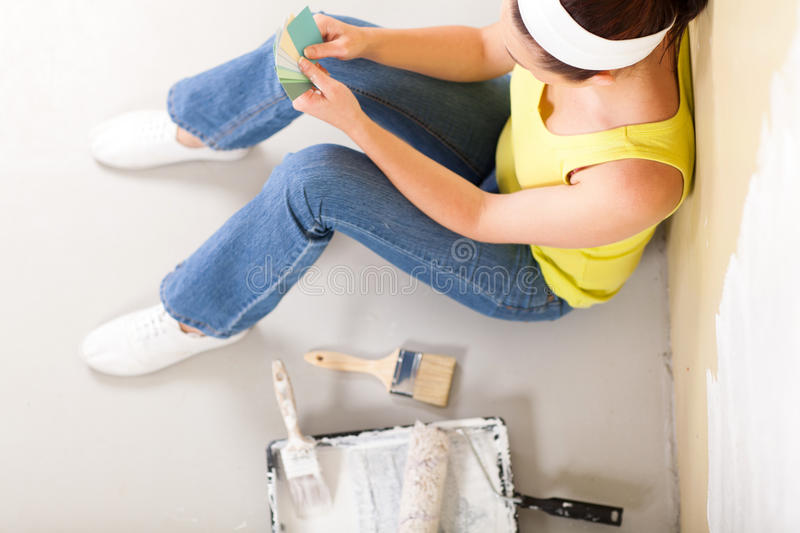 Download Choosing paint color stock photo. Image of decorator - 28055164