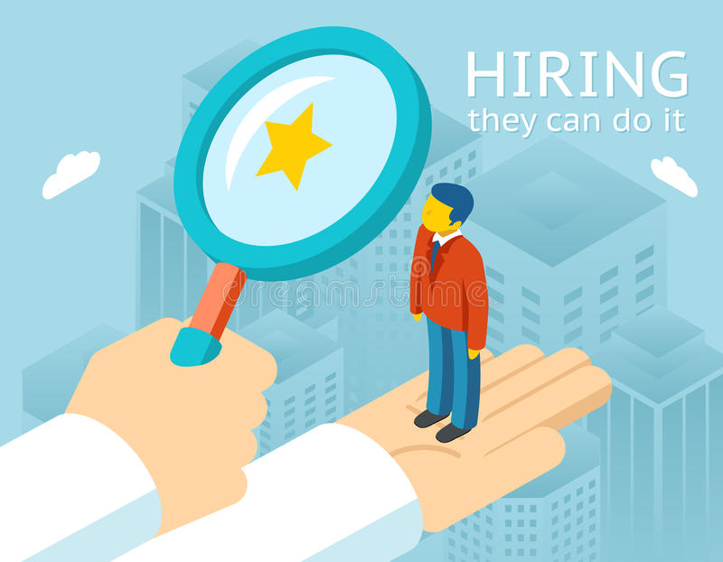 Choosing person for hiring stock illustration