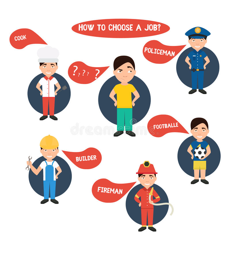 Choosing profession , policeman, construction worker, chef , fireman, stock illustration