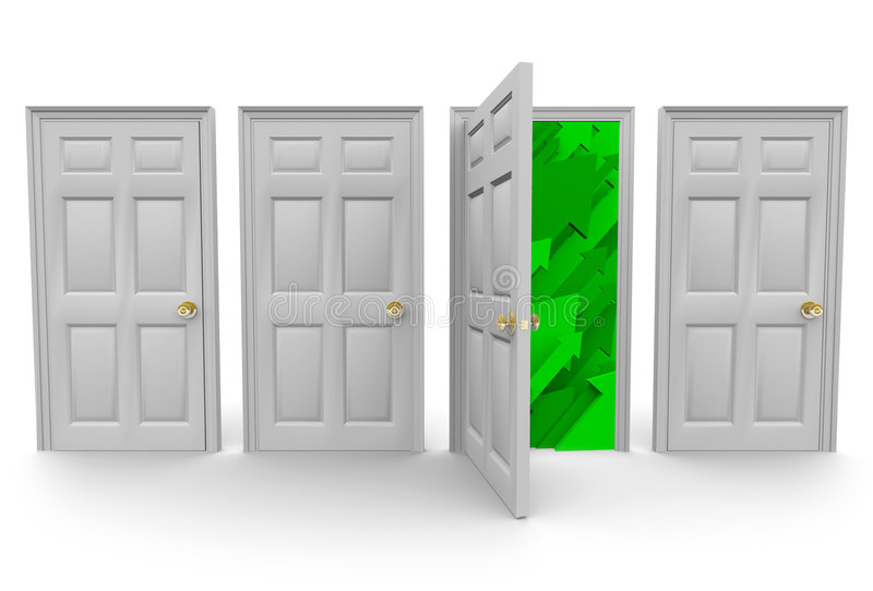 Choosing the Right Door to Success. Four doors stand before you... choose the right one that leads to success royalty free illustration
